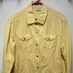 CHICO'S YELLOW POCKETED BUTTON UP JEAN JACKET